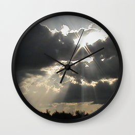 A Silver Lining // Clouds, Gray Art, Black & White Print, Storm Art Wall Clock