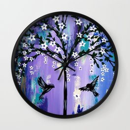 Purple Tree of Life Wall Clock