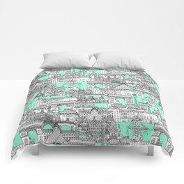 Paris toile aquamarine Comforters