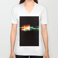 santa monica V-neck T-shirts featuring Night Lights Santa Monica Holiday Inn by David Hohmann