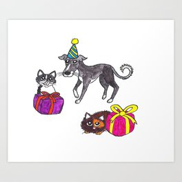 Pet party Art Print