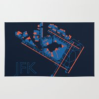 jfk Area & Throw Rugs featuring New York (JFK) - 60s by Kyle Rodgers