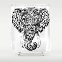 ornate elephant Shower Curtains featuring Ornate Elephant Head by BIOWORKZ