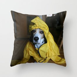 Brunos ready for the rain Throw Pillow