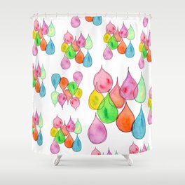 """""""Crystals"""" Watercolor Painting positive illustration colorful nursery kids room rain drops pattern Shower Curtain"""