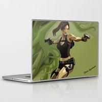 lara croft Laptop & iPad Skins featuring Lara Croft by Fran Agostinelli