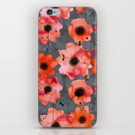 Watercolor poppies on gray background iPhone Skin