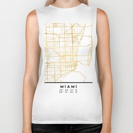 MIAMI FLORIDA CITY STREET MAP ART Biker Tank