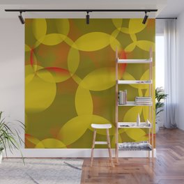 Abstract soap of lemon molecules and red bubbles on a yellow background. Wall Mural