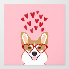 Corgi heart glasses dog breed valentines day welsh corgis gifts Canvas Print