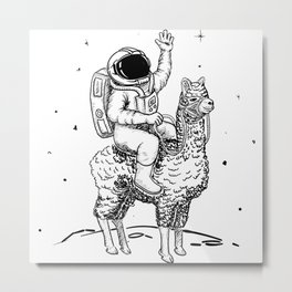Astronaut exploring on llama Metal Print