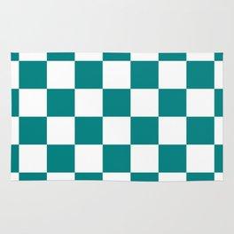 Checkered - White and Dark Cyan Rug