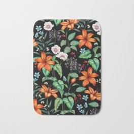 Beautiful High End Floral Pattern with a Dark Background Bath Mat