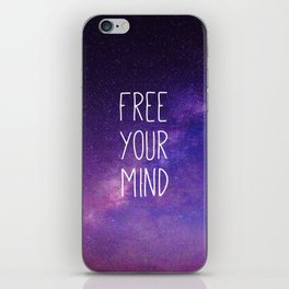Free Your Mind, Quote, Blue Purple Night Sky, Universe iPhone Skin