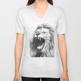 Black White Fierce Lion Unisex V-Neck