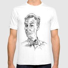 Bill Nye Portrait White MEDIUM Mens Fitted Tee