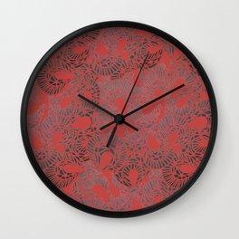 Pretty Red Lace Design Wall Clock