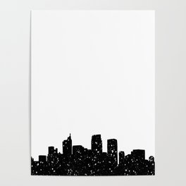 Panorama city in lights or snow Poster