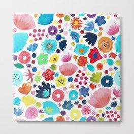 Watercolour Blooms Metal Print