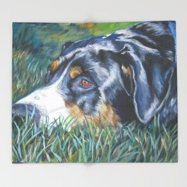 Greater Swiss Mountain Dog portrait art from an original painting by L.A.Shepard Throw Blanket