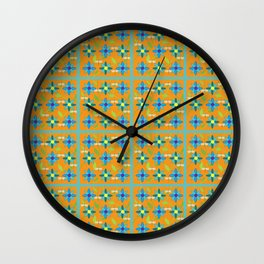 Flower and Dragonfly Tiled Design with Orange Background Wall Clock
