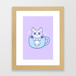 White Magic Tea / Coffee Cat 01 Framed Art Print