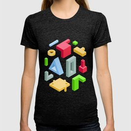 Industrial Art. Set of Abstract 3D Items on transparency area T-shirt