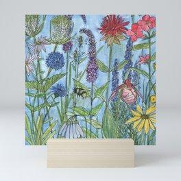 Watercolor Garden Flower Botanical Wildflowers Lady Slipper Orchid Mini Art Print
