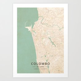 Colombo, Sri Lanka - Vintage Map Art Print