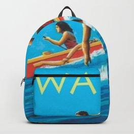 Hawaiian Surfers, Honolulu, Hawaii Vintage Poster Backpack