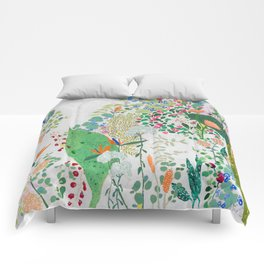 Painterly Floral Jungle on Pink and White Comforters