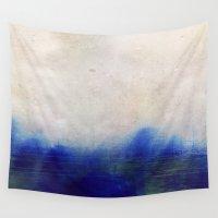 blur Wall Tapestries featuring blue blur by Iris Lehnhardt