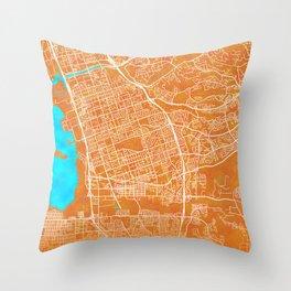 Chula Vista, CA, USA, Gold, Blue, City, Map Throw Pillow