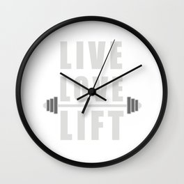 Live Love Lift Apparel T-Shirt With Barbell Wall Clock