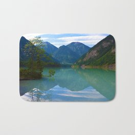 Morning Reflections on Kinney Lake in Mount Robson Provincial Park, British Columbia Bath Mat