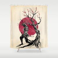redhead Shower Curtains featuring Redhead samurai by Rafapasta
