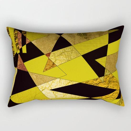 Abstract #508 Black, Gold & Copper Shards Rectangular Pillow