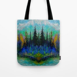 NORTHERN  BLUE & AQUA SPRUCE  PINES ISLAND ART Tote Bag