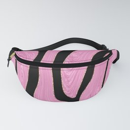 Pink & Black Swirl Pattern With Gold Hue Accents Fanny Pack