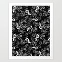 Black and White Floral Pattern by burcukorkmazyurek