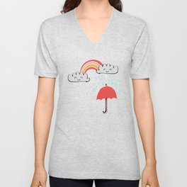 April showers rainbow Clouds Blue #nursery Unisex V-Neck