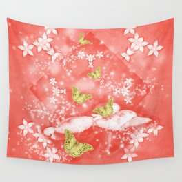 Gold butterflies in magical mushroom landscape Wall Tapestry