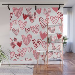 Hearts red and white hand drawn minimal modern fun valentines day gifts Wall Mural
