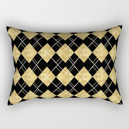 Black and Gold Check Pattern Rectangular Pillow