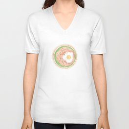Watercolor Illustration of Chinese Cuisine - Meat Pie with Egg and Edamame | 肉饼子炖蛋 Unisex V-Neck