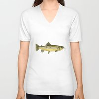 trout V-neck T-shirts featuring Brown Trout by Trinity Mitchell