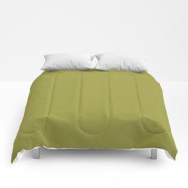 "Green khaki ""Golden Lime"" Pantone color Comforters"
