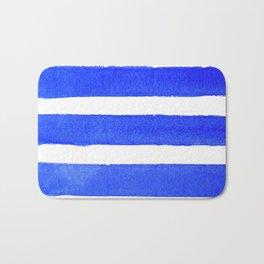 Watercolor Stripes of Blue Bath Mat