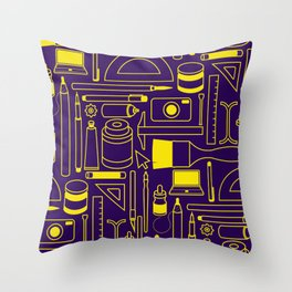 Art Supplies - Eggplant and Yellow Throw Pillow