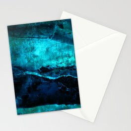 Beneath - Abstract in navy blue and turquoise Stationery Cards